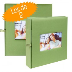 Lot de 2 Albums Photos Square Vert 200 photos 11.5x15 cm Mémo