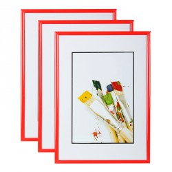 Lot de 3 cadres photo 13x18 cm Rouge