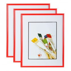 Lot de 3 cadres photo 15x21 cm Rouge