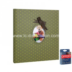 Album Photo traditionnel de Naissance Nounours Vert 60 pages blanches + 500 pastilles offertes