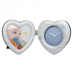 Pendule Photo Heart Clock Bleu pour photo 10x10 cm