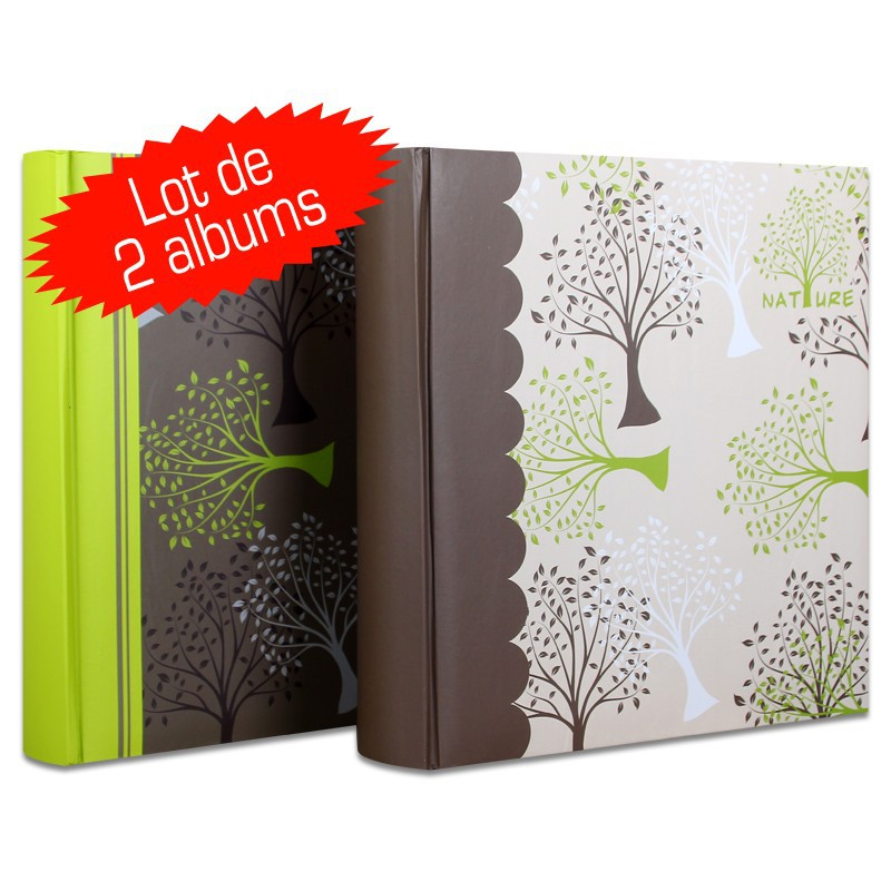lot de 2 albums photos pochettes nature 200 photos cm m mo. Black Bedroom Furniture Sets. Home Design Ideas