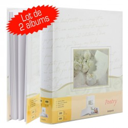 Lot de 2 Albums Photos traditionnel Mariage Poetry 29x32 100 pages blanches
