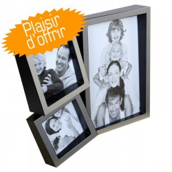 Cadre Photo Multivues Jack 3 Q pour 1 photo 11x16 cm + 1 photo 7.5x7.5 cm + 1 photo 6.5x6.5 cm Argent