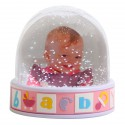 Boule Photo Neige Baby Rose